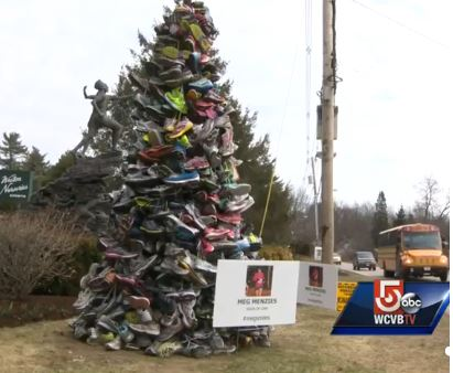 """""""Soles of Love"""" created by Kel Kelly, photo courtesy of Channel 5 news in Boston, MA"""
