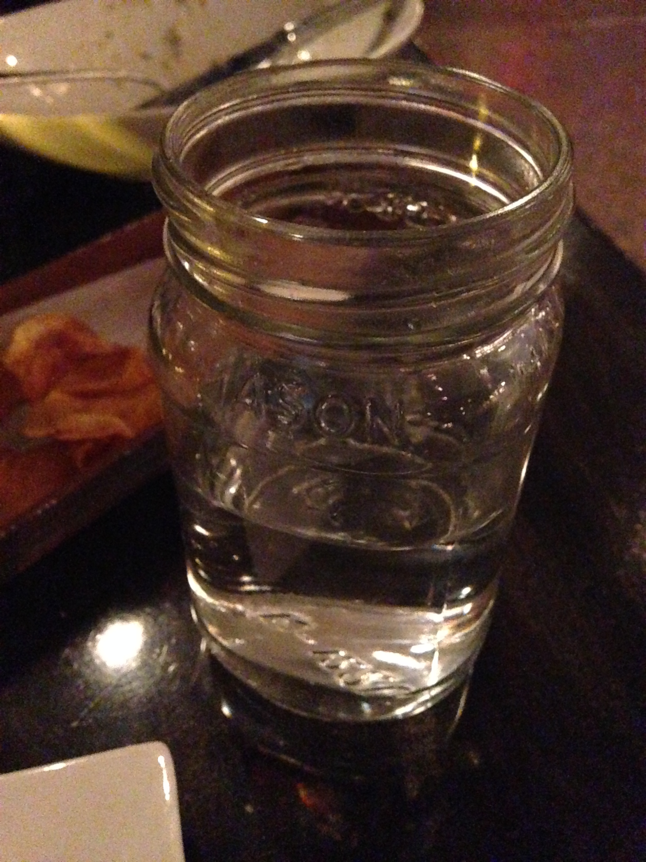 Our drinks were served in mason jars.
