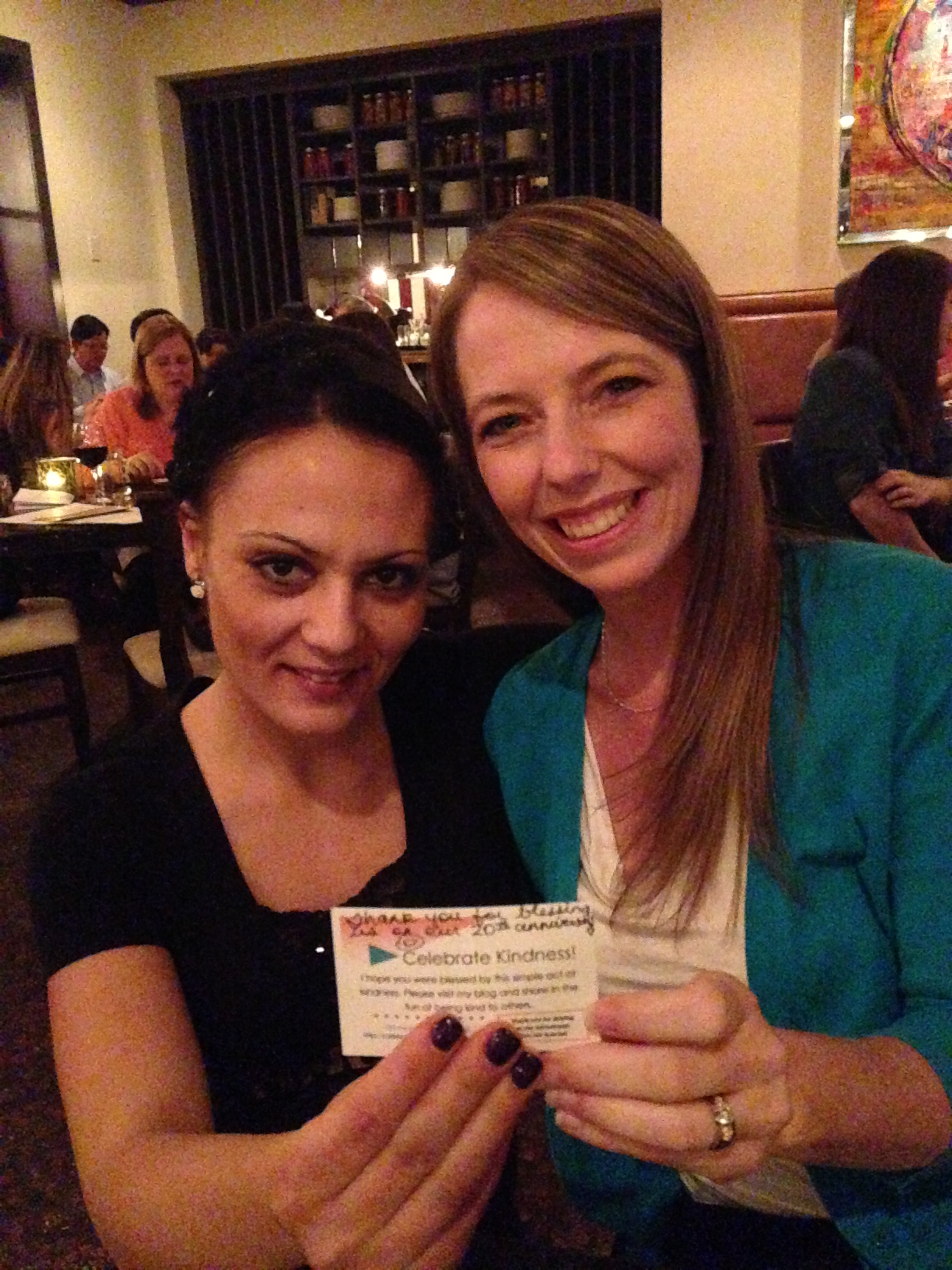Me and our waitress, Milena, with my RAK card.